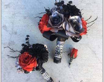 Halloween Red and black bouquet, grey laminated roses, deluxe style. Wedding bouquet.