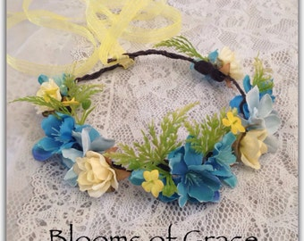 flower crown, yellow and turquoise or any color!
