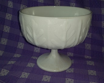 FTD  Milk Glass Footed Planter Oak Leaf 1978 White Compote Candy Dish Wedding Decor
