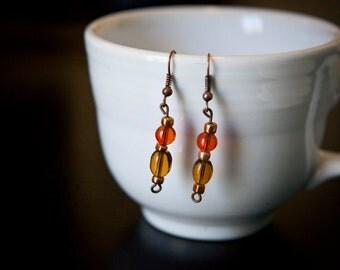 Orange and yellow bead earrings