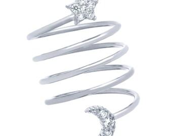 Moon Star Ring. Silver Star Moon Ring. Spiral Moon Star Ring. Spring Ring. Pave Moon Star Ring. Spiral Ring. Moon And Star Ring. Silver Ring