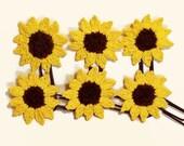 Sunflower Paper Clips, Set of 3, 6, or 12, Planner Clips, Crochet Bookmark, Journal Accessory, Homeschool Planner, Gift for Mom Teacher