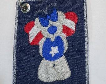 Embroidered USA keyrings