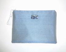 Aqua clutch, silk clutch, evening bag, wedding purse, bridesmaid gift, brides purse, prom purse, cosmetic bag, jewelry pouch