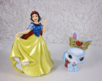 Set of 2pcs,Palace Pets CAKE TOPPER, Snow White and rabbit Berry pets cake topper,  Priority Mail Shipping