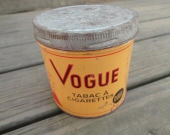 Tobacco tin, Vogue tin, Vintage tin, Collectible tin, vintage advertising, French graphics