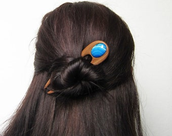Wooden Hair Fork, hairfork, wood, 2 prong, blue agate, hair stick, hair pin, haarforke, mahogany