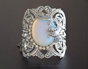 Victorian Antique Silver Opal Cuff Bracelet, Art Nouveau Cuff Bracelet, Silver Plated Brass Cuff Bracelet, Iridescent Opalite Glass Cabochon