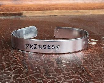 "Princess Cuff Bracelet Personalized  Custom Jewelry Hand Stamped 3/8"" Aluminum"