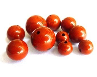 10 jasper beads Ø 10mm PF0140 delicate gem semi precious stone