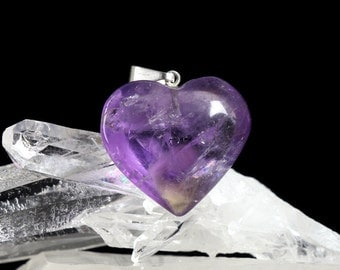 John of God Amethyst Quartz Crystal Heart Pendant Blessed and Energized