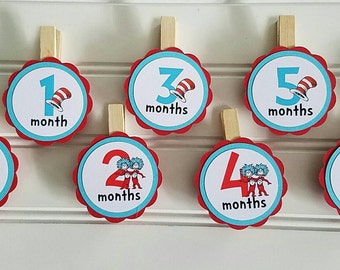 Girl boy Seuss First Year clips, Seuss Year at a Glance tags, Seuss Party, Twins Birthday, Cat in hat Party Decor thing 1 birthday