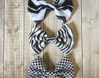 Black & White Fabric Bow - Headband or Alligator Clip