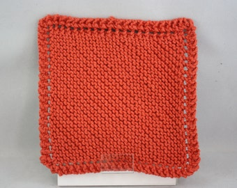 dishcloths, cotton dishcloths, hand knit dishcloths, knit dishcloths, washcloths, hand knit washcloths, knit washcloths, orange dishcloths