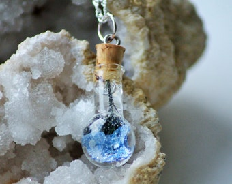 FORGET ME NOT real flower necklace - Transparent Resin Jewelry- Bottle necklace