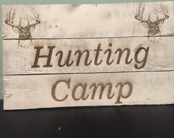 Rustic Pallet Lasered Engraved Deer Hunting Camp Sign