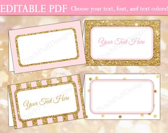 Editable place cards (INSTANT DOWNLOAD) - Printable place cards - Printable food labels - Food tent cards - Food tents BI001 BA002