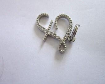 Vintage Monogram  F  with Rhinestones Necklace Pendant
