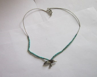Vintage Native American Sterling Silver and Turquoise Jonathan Livingston Seagull Bird Pendant Necklace