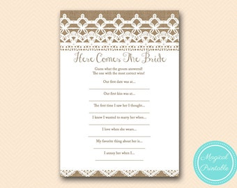 Here comes the bride, what did groom say bridal shower game, Rustic, Burlap Lace Bridal Shower Game download, Wedding Shower BS173