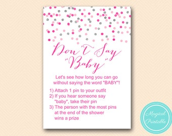 Dont Say Baby Game, Dont say baby sign, Clothespin Game Printable, Girl Baby Shower Game, Pink Silver Baby Shower Game Printable TLC179 MB