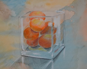 """Still life """" Mandarines"""" watercolor /chalk / one of a kind"""
