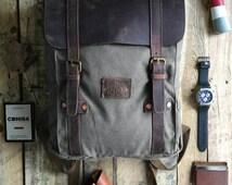 Men's backpack, canvas backpack, canvas leather backpack, men's canvas bag, men's messenger bag, hipster backpack, laptop, men's rucksack
