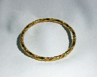 Vintage Monet M Rope Twisted Gold Plated Bangle Bracelet 1970 to 1980s Costume Jewelry