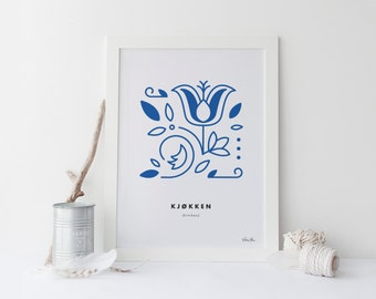 """8x10 """"Kjøkken"""" (Kitchen) Nordic Word Print, blue and white, Norwegian Scandinavian folk art illustration"""