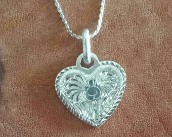 Angel pendant, sterling silver, hand engraved