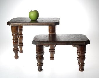 Set of Wood Benches - vintage bench - two benches