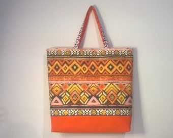 Aztec Print Tote Bag, Orange Tote Bag, Handmade Tote Bag, Lined Tote Bag, Picnic Bag, Beach Bag, Large Tote Bag, Fabric Tote Bag, Travel Bag