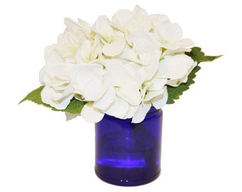White Hydrangea in Glass Blue Vase, Faux