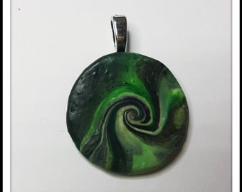 Polymer clay pendant- black & green