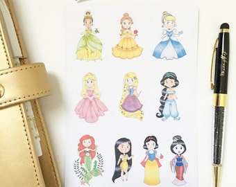 Princess Collection Hand Drawn Planner Stickers