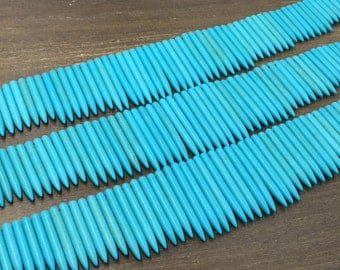 "Aqua Turquoise Point Blue Howlite Stick spike Necklace Beads Howlite Point Beads Graduated Blue Gemstone Pendants Tusk Beads 18"" strand"