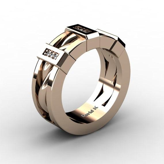Mens 14K Rose Gold Diamond Inlay Twist Wedding By