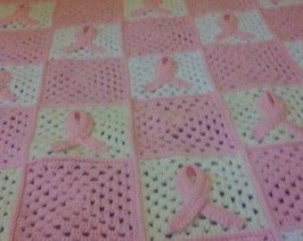 Crochet Afghan, Cancer Ribbon Afghan Blanket, Multiple sizes and colors