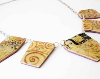 Gustav Klimt polymer clay necklace Gift Idea Modern  Present for Her Birthday gift for Her