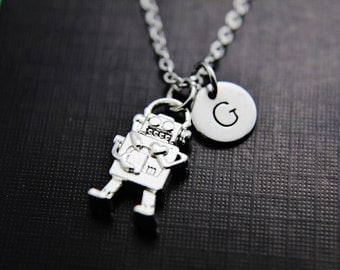 Robot Necklace Robot Pendant Necklace Silver 3D Robot Charm Personalized Initial Necklace Initial Jewelry Monogram Jewelry