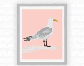 Seagull illustration - tropical decor - bird art - lake house art - beach house art - beach art - Digital wall decor - INSTANT DOWNLOAD