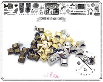 50PCS 8MM Faceted Square PYRAMID RIVET Studs Nailhead.