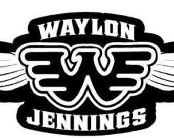 Waylon Jennings Flying Wings Decal Vinyl Sticker 2 Stickers 9 inches wide
