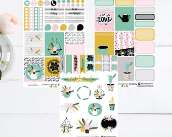 Succulove Weekly Monthly Planner Sticker Kit Erin Condren Inkwell Press Happy Planner Plum Paper Floral Set weekly succulent flowers garden