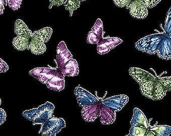 Butterfly Forest, butterflies on black background, Butterfly Fabric, by Benartex, 6139-12