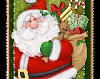 Kringle Krossing, Christmas Panel, Christmas fabric, Santa Clause Panel, by Henry Glass, 6402P-89