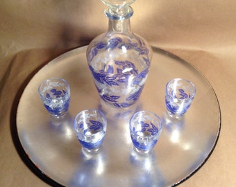 Vintage Glass Decanter with 4 Glasses-France