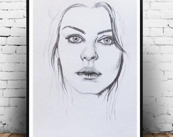 Art, Mila Kunis Portrait drawing, Celebrity drawing, Celebrity painting, Portrait, Original Portrait Drawing, Sketch, Portrait Art