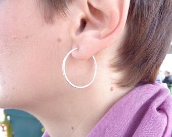 Hoop earrings,silver hoop earrings,hammered hoops,Open hoop earring,Post hoop earrings,