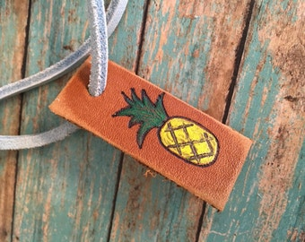 Pineapple luggage tag, Custom Luggage Tag, personalized leather luggage tag, pineapple luggage tag